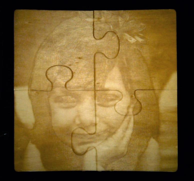 Laser Etched Portrait on Wood Puzzle